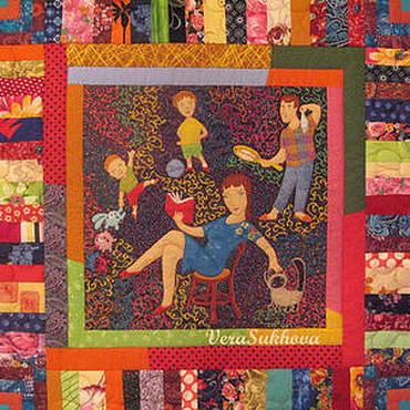 """Для дома и интерьера ручной работы. Ярмарка Мастеров - ручная работа Лоскутное одеяло """"У мамы выходной!"""". Handmade."""