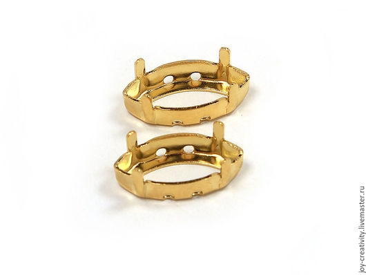 Для украшений ручной работы. Ярмарка Мастеров - ручная работа. Купить Оправа 15х7 золото  для Navette Swarovski (цапы, сеттинги). Handmade.