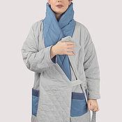 Одежда handmade. Livemaster - original item Light quilted jacket with a blue collar long. Handmade.