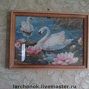 """Картины и панно ручной работы. Ярмарка Мастеров - ручная работа Вышивка """"Лебеди"""". Handmade."""