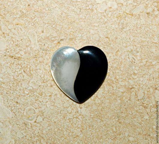 """Для украшений ручной работы. Ярмарка Мастеров - ручная работа. Купить Перламутр с ониксом """"Сердце"""" 25х25. Handmade. Чёрно-белый"""