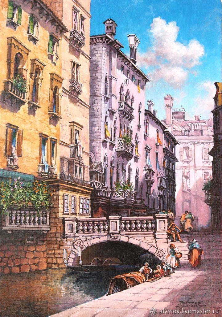 Город ручной работы. Ярмарка Мастеров - ручная работа. Купить Венеция 19 век. Handmade. Венеция, холст масло