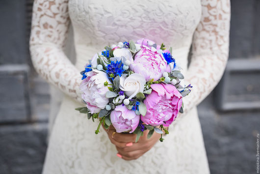 Свадебные цветы ручной работы. Ярмарка Мастеров - ручная работа. Купить Пионы и васильки  для невесты. Handmade. Розовый