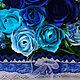 Букеты ручной работы. Заказать Корзинка с цветами в синем. Студия подарков в Москве. Ярмарка Мастеров. Подарок девушке, подарок на свадьбу