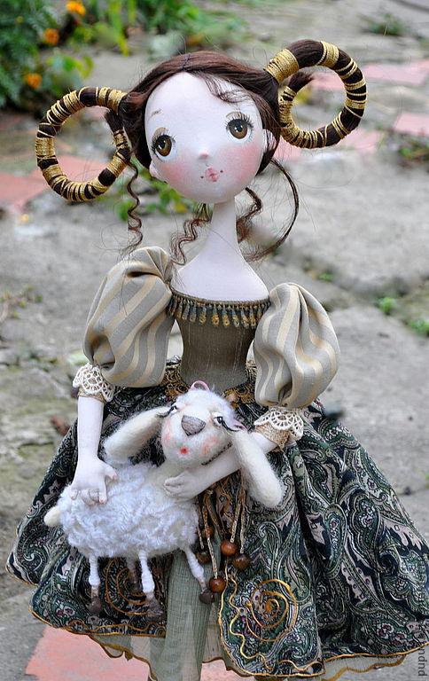 Коллекционные куклы ручной работы. Ярмарка Мастеров - ручная работа. Купить Авторская кукла Моя дочь - ОВЕН. Handmade. Оливковый