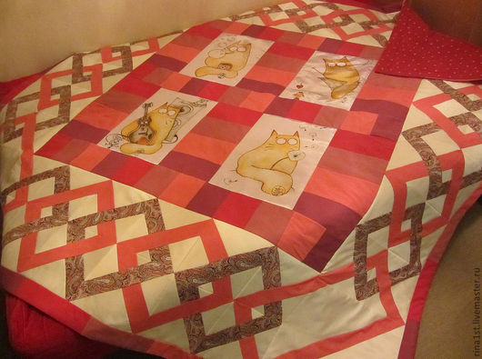 Текстиль, ковры ручной работы. Ярмарка Мастеров - ручная работа. Купить лоскутное одеяло с принтом и орнаментом. Handmade. Принт