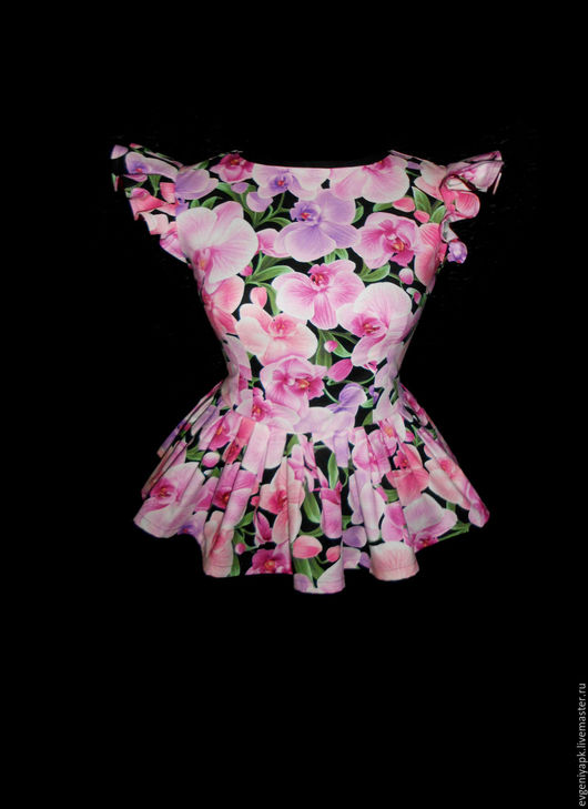 """Блузки ручной работы. Ярмарка Мастеров - ручная работа. Купить Блузка """"Орхидеи"""". Handmade. Брусничный, баска, лето, рубашка"""