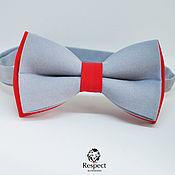 Аксессуары handmade. Livemaster - original item Tie Duo / red grey wedding tie necktie. Handmade.