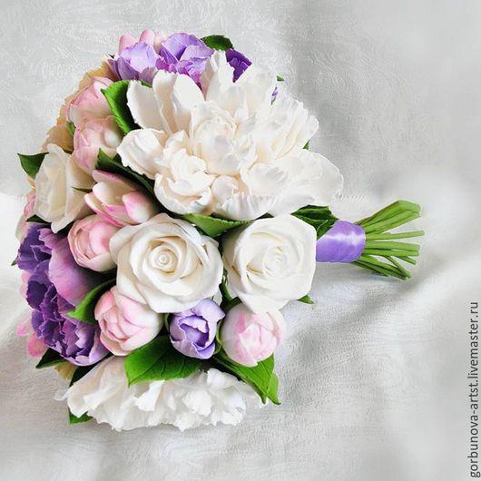 Свадебный букет, букет невесты с пионами, букет для невесты,букет из полимерной глины, свадьба2016,  букет в фиолетовых тонах, букет ручной работы, букет невесты от цветочного кутюрье Анны Горбуновой
