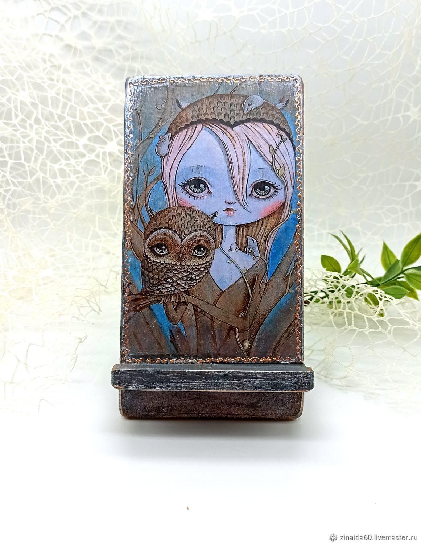 Подставка для телефона Девушка и сова, Подставки, Сургут,  Фото №1