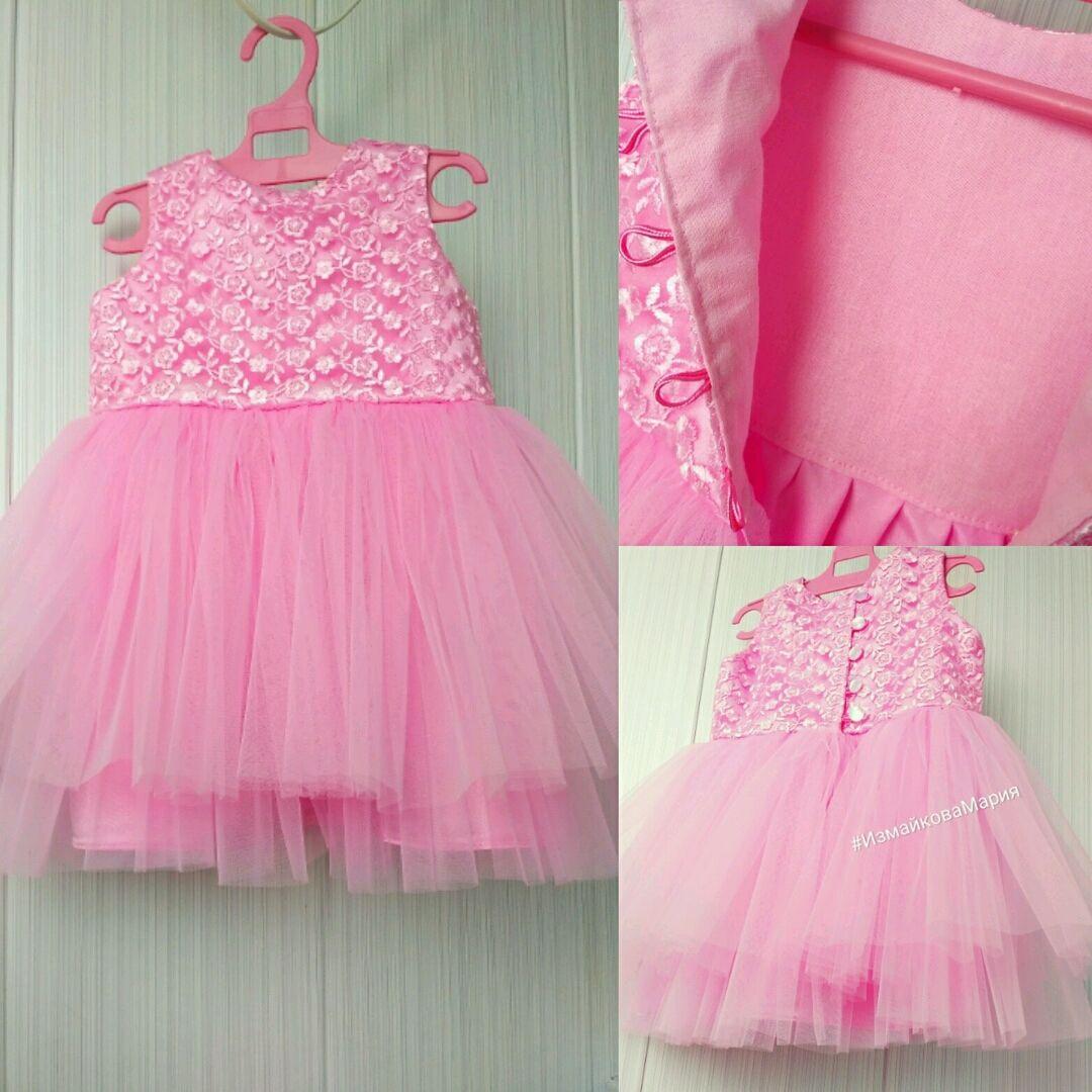 Платье фатиновое пышное розовое с кружевом
