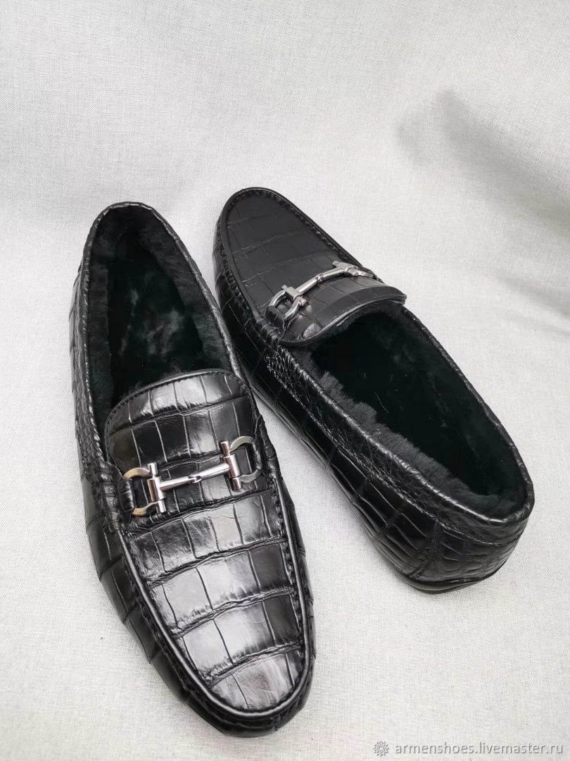 Men's moccasins, with fur from the abdominal part of the crocodile skin, Moccasins, Tosno,  Фото №1