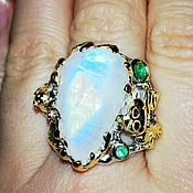 Украшения handmade. Livemaster - original item Ring Moonlight with agulera and emeralds. Handmade.