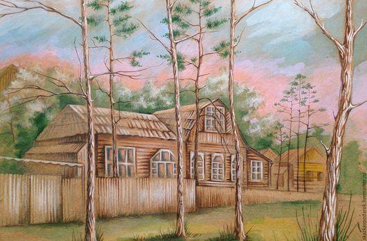 """Пейзаж ручной работы. Ярмарка Мастеров - ручная работа. Купить картина """"Дом в соснах"""". Handmade. Картина, подарок, украшение интерьера"""