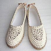 Обувь ручной работы. Ярмарка Мастеров - ручная работа Балетки вязаные Helen, лен, белый. Handmade.