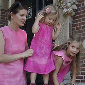 Работы для детей, ручной работы. Ярмарка Мастеров - ручная работа Валяные платья для мамы и дочек Розовые. Handmade.