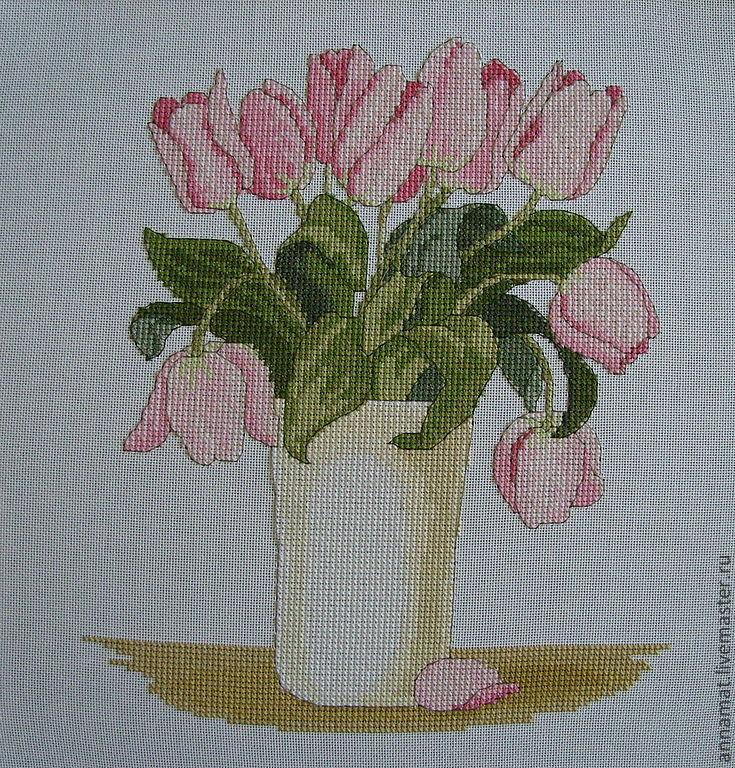 Цветы тюльпаны вышивки