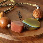 handmade. Livemaster - original item Beads with agate and exotic nuts