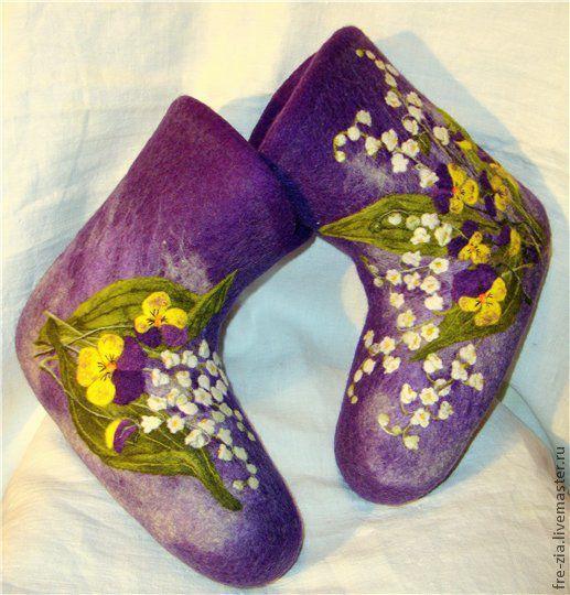 """Обувь ручной работы. Ярмарка Мастеров - ручная работа. Купить Валеночки """"Весна!"""". Handmade. Фиолетовый, эксклюзив, ручная работа"""