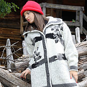 "Одежда handmade. Livemaster - original item Sirogojno Style  hand knitted wool women jacket ""Bunches of rowan"". Handmade."