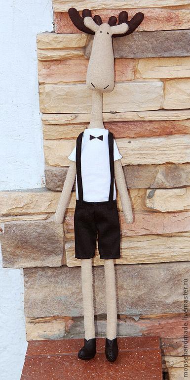 Куклы Тильды ручной работы. Ярмарка Мастеров - ручная работа. Купить лось. Handmade. Лось, хлопок