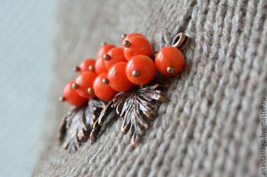 брошь булавка брошь-булавка подарок сувенир украшение бижутерия украшение из коралла