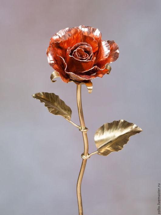 Роза из меди и латуни