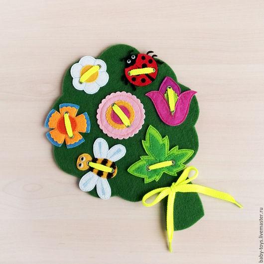 """Развивающие игрушки ручной работы. Ярмарка Мастеров - ручная работа. Купить Развивающая игрушка шнуровка """"Букет полевых цветов"""" (1+). Handmade."""