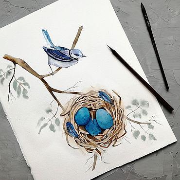 Картины и панно ручной работы. Ярмарка Мастеров - ручная работа Птица у гнезда. Handmade.