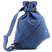 Сумки и аксессуары handmade. Livemaster - original item Leather backpack Selena (blue nubuck). Handmade.
