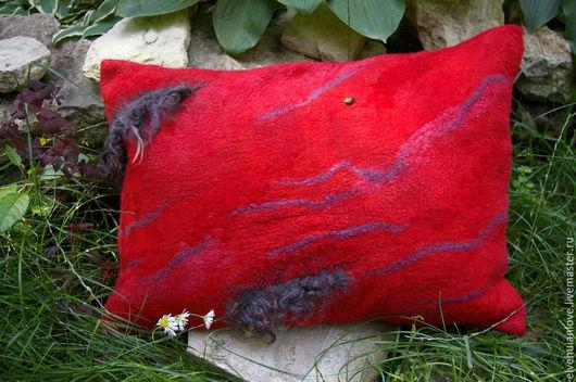Текстиль, ковры ручной работы. Ярмарка Мастеров - ручная работа. Купить ДЕКОРАТИВНАЯ ПОДУШКА-КРАСНОЕ ЛЕТО. Handmade. Ярко-красный