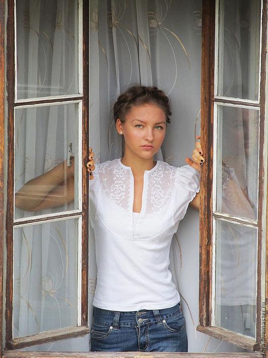 Блузки ручной работы. Ярмарка Мастеров - ручная работа. Купить Блуза белая с ручной вышивкой. Handmade. Блуза, однотонный