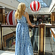 "Платья ручной работы. Летний сарафан ""Чарующая гжель"". Buyanova Yuliya (красочные платья). Ярмарка Мастеров. Синий, длинный сарафан"