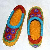 """Обувь ручной работы. Ярмарка Мастеров - ручная работа Валяные женские тапочки """"Радостные"""". Handmade."""
