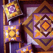 Для дома и интерьера handmade. Livemaster - original item Patchwork bedspread in purple and gold tones