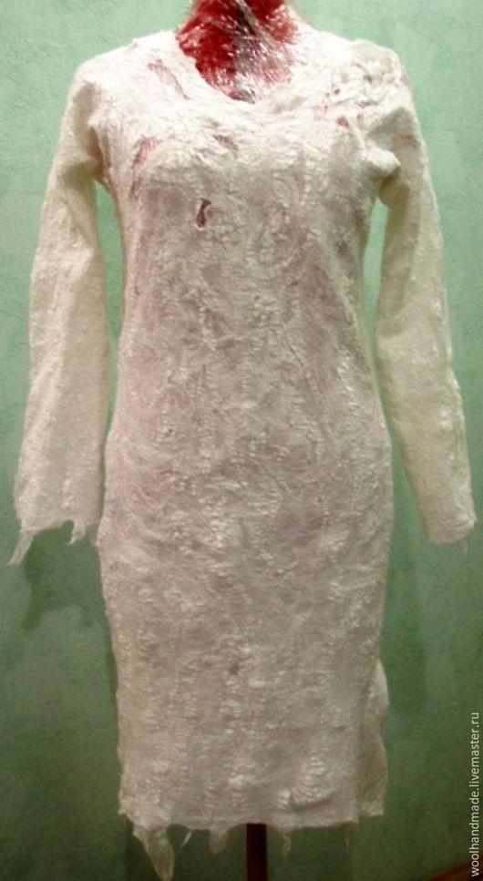 Dresses handmade. Livemaster - handmade. Buy Wool dress Creme brulee.Felt, wet felting, clothing made of wool