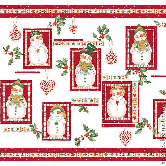 полотенечное вафельное полотно Веселый снеговики. Шитье. Ткани и фурнитура МегаТекс