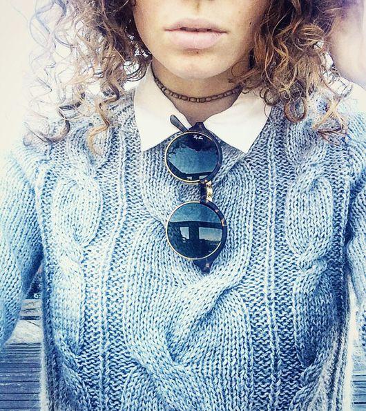 Кофты и свитера ручной работы. Ярмарка Мастеров - ручная работа. Купить Светло-серый кашемировый свитер с косами. Handmade. Свитер