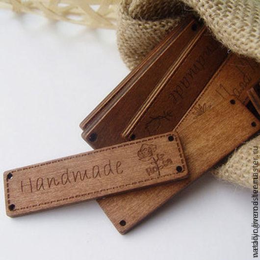 Шитье ручной работы. Ярмарка Мастеров - ручная работа. Купить Деревянная бирка. Handmade. Коричневый, дерево