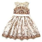 Работы для детей, handmade. Livemaster - original item cotton dress for girl white chocolate. Handmade.