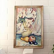 Картины и панно ручной работы. Ярмарка Мастеров - ручная работа Натюрморт с лилиями. Дары осени. Масло,оргалит.. Handmade.