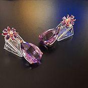 Украшения handmade. Livemaster - original item Earrings with amethyst, rhodolite and pearls. Handmade.