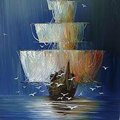 """Картины и панно ручной работы. Ярмарка Мастеров - ручная работа Картина маслом """"Корабль с чайками"""". Handmade."""