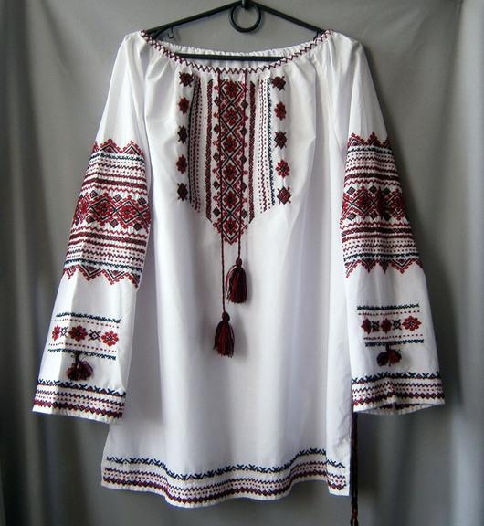 Блузки ручной работы. Ярмарка Мастеров - ручная работа. Купить Блуза-вышиванка из поплина  Карпаты 50-52 ручная работа. Handmade.