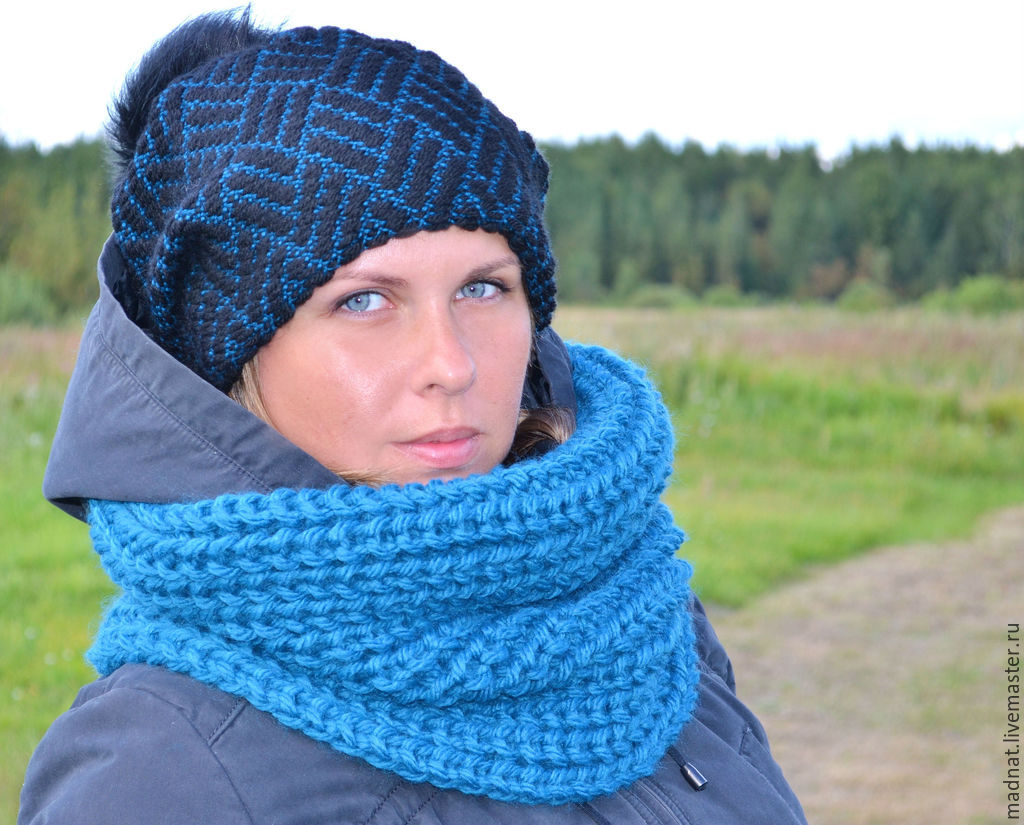 Set the 'Bay' Vivian hat with fur pompom Snood knitting, Headwear Sets, Moscow,  Фото №1