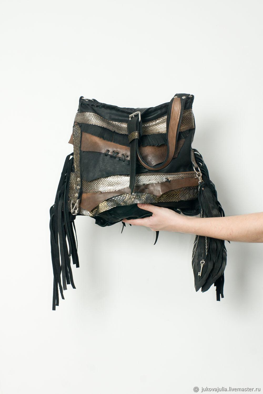 Crossbody bag made of genuine black leather with Python, Crossbody bag, Stavropol,  Фото №1