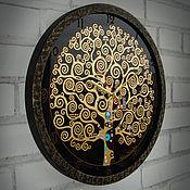 """Для дома и интерьера ручной работы. Ярмарка Мастеров - ручная работа Часы настенные круглые """"Древо жизни"""" в черном. Handmade."""