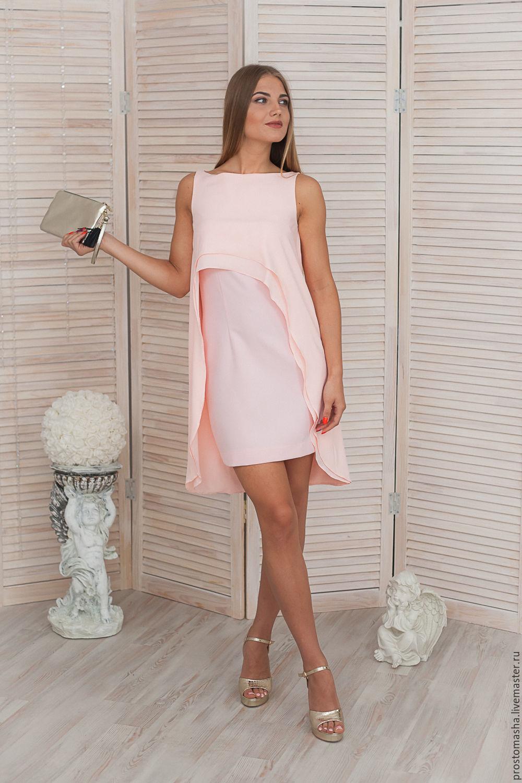 """ручной работы. Ярмарка Мастеров - ручная работа. Купить Платье розовое коктейльное """"подружка невесты"""". Handmade. Желтый, белое платье"""