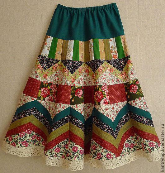 """Юбки ручной работы. Ярмарка Мастеров - ручная работа. Купить Лоскутная юбка""""Летний сад"""" для Наталии. Handmade. Цветочный, печворк"""
