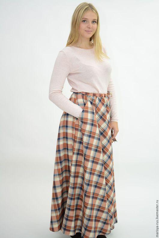 """Юбки ручной работы. Ярмарка Мастеров - ручная работа. Купить Длинная юбка """"Полусолнце"""". Handmade. Бежевый, клетчатая юбка"""